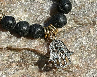 Lava Rock Beads Bracelet with Hamsa Charm Amulet