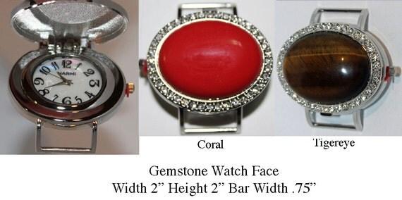 Large Gemstone Watch Face for Interchangeable Watch Bracelet