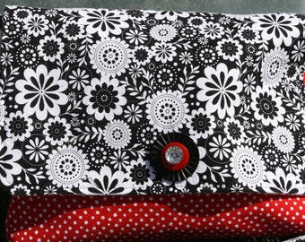 Crossbody Purse in Black, White and Red Fabric