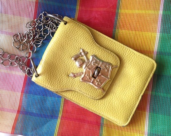 Mustard Yellow Little Leather Bag with Crest – 1970s