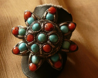 Vintage Silver Ring con Coral and Turquoise