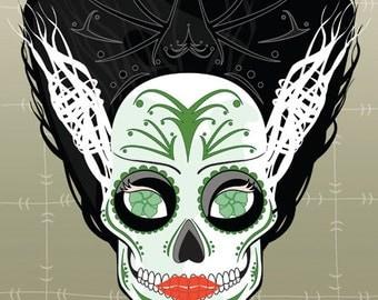 Bride of Frankenstein Sugar Skull Print 11x14 print