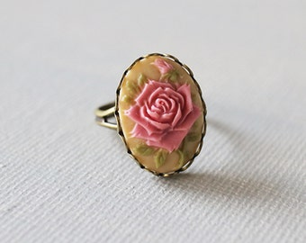 Vintage Style Rose Cameo Ring