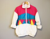 Colorblock Jacket Vintage 90s Pink Teal Windbreaker Large