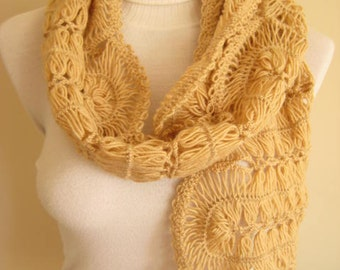 Brown Scarf with a special pattern - Coffee Latte, Caramel, Honey, Mocha - Valentines Day GIFT for HER - OOAK