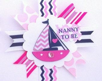 Nautical Girl Pink Grandma's Baby Shower Corsage  - A Round Badge Pin to match my Mommy's Corsage - Made To Order
