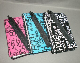 Notebook Holder - Purse Size Notebook and Pen - BITCH - Choose The Color - Black, Pink, Turquoise
