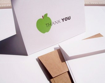 Apple Thank You Cards - Teacher Thank You Notes, Back To School Teacher Appreciation Cards, Apple Thank You Card Set, Red Yellow Green Apple