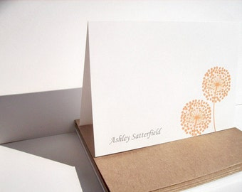 Personalized Stationery - Dandelion Note Card Set, Personalized Thank You Notes, Orange Aqua Blue Pink Yellow Note Cards Dandelions