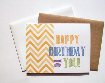 Birthday Card - Happy Birthday To You, Bright Yellow Chevron Colored Chalk Birthday Card, Birthday Invitations, Golden Yellow Chevron Stripe