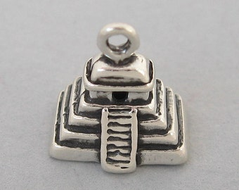 Sterling Silver 925 Charm Pendant 3D Aztec MAYAN PYRAMID 4236