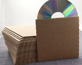 Set of 100 CD sleeves - natural Kraft brown, 100% recycled & eco-friendly  - DVD, CD wedding favors, photography packaging