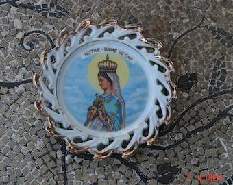 Vintage Porcelain Notre Dame Du Cap Display Plate/Wall Hanging - Beautful
