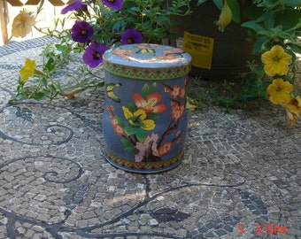 Daher Collectible Purple Floral Butterfly Tin - Beautiful