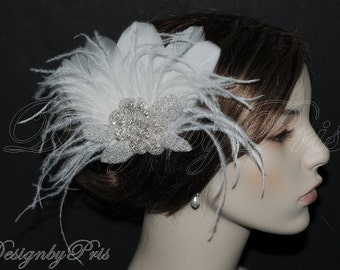 SALE - Bridal Ivory Feather Rhinestone Applique Fascinator, Veil, Wedding Headpiece, Bridal Hair Accessories