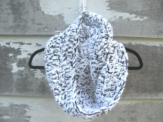 Winter Cowl scarf / hood, Crocheted with Double Yarn, Black and White, Unisex