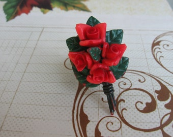Red Rose.vintage assemblage collage ring