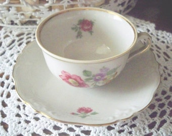 Demitasse Cup and Saucer by Gareis, Kuhnl and Cie - 1945 - Antique Cup and Saucer - Made In Germany