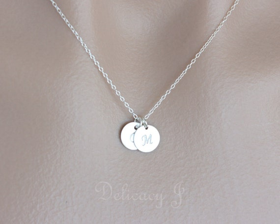 personalized two initial charm necklace monogram initial