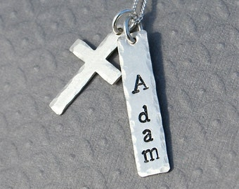 Boys Communion/Confirmation/baptism - Solid Sterling Cross Necklace