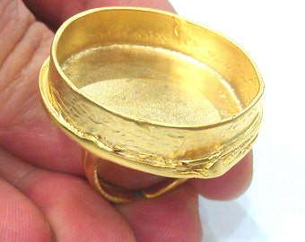 Adjustable Ring Blank (30mm Blank),Cabochon Base,Mountings , Gold Plated Brass G2025