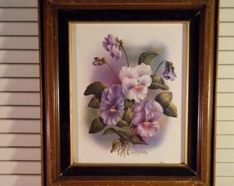 Framed Art, Purple Violet Pansies on Cream Background, in Shabby Vintage Frame, Artist Crystal Skelley, Circa 1936, Wood and Velvet Frame