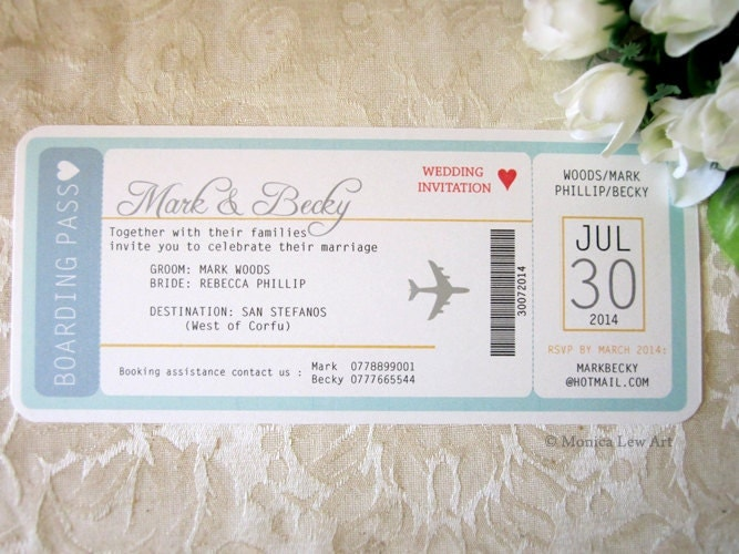 Destination Wedding Invitation Wording Samples: Plane Ticket Destination Wedding