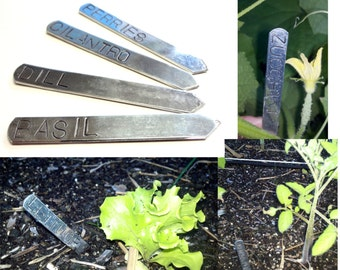 Customized Garden Markers, Hand Stamped Aluminum Herb Markers, Set of 4