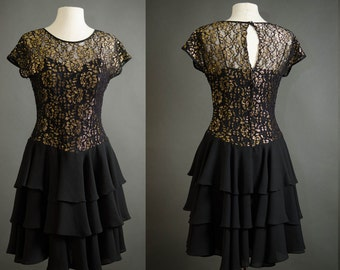 vintage black lace dress small