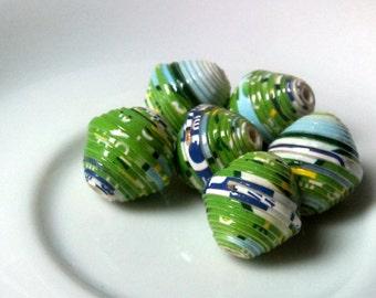 6 paper beads - light green -