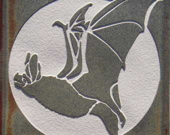 4x4 Flying Bat - Etched Porcelain Tile - SRA