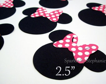 """Minnie Mouse Heads 2.5"""" I Hot Pink Polka Dot Bow I Minnie Mouse Brithday Party I Minnie Decorations I Minnie Party Favor I Set of 12"""