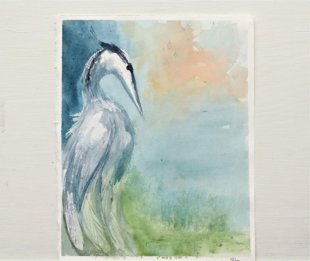 great blue heron original watercolor painting