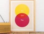 LOVE Venn (Yellow, Red, Pink) - Wall Art Poster / Print