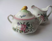 Vintage Cream and Sugar Set Strasbourg Chanticleer Ware Fondeville Pink Floral
