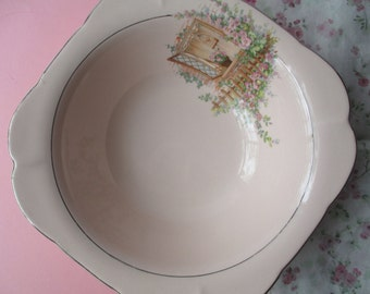 Vintage WS George Argosy Pink Cottage Serving Bowl - Shabby Chic