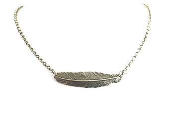Steampunk Feather Necklace- Sterling Silver Ox or Antiqued Brass Finish- Medium Feather
