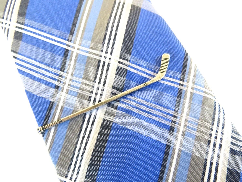 hockey stick tie clip hockey tie bar sterling silver ox