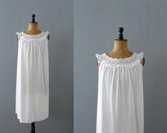 Vintage slip dress. 1960s white nightie. deadstock slip dress. negligee. lingerie