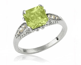 Art Deco Peridot Engagement Ring, 14K Gold Ring, Peridot Birthstone Ring, Peridot Jewelry, Peridot Ring, Unique Art Deco Engagement Ring