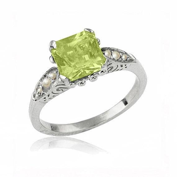 art deco peridot engagement ring 14k gold ring peridot. Black Bedroom Furniture Sets. Home Design Ideas
