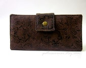 Women's wallet brown faux tooled leather - handmade clutch brown floral - Custom order