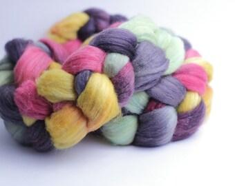 Merino/Tussah Silk Wool Roving - Handdyed - 4 oz
