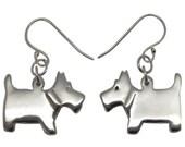 Scottie Dog Sterling Silver Earrings, silver scottie dogs, sterling silver dog earrings, silver dog earrings, dog earrings, scottie earrings