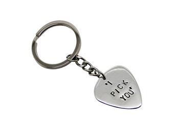 Personalised Guitar Pick Sterling Silver Keychain, fathers day, personalised, personalized, guitar pick keyring, guitar pick, plectrum