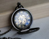Black Mechanical Pocket Watch,Steampunk Pocket Watch,Pocket Watch Chain,Groom Gift,Groomsmen Gift