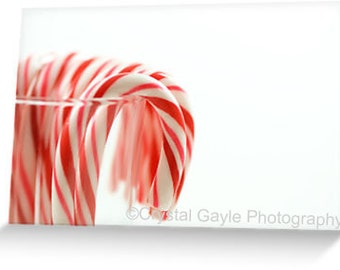 """Candy Cane Christmas Card, Holiday Greeting, 4.25""""x5.5"""" or 5""""x7"""", Red, White, Modern, Festive Party Invitation, For Laywer, Friend, Grandma"""