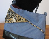 Divadezines Animal Print on Denim Shoulder Bag / Imitation Leather on Reverse side