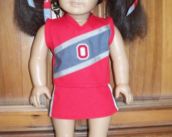 """Ohio State Cheerleading Outfit for 18"""" American Girl Doll Free Shipping"""