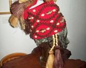 Hawaiian Hula Headdress hand crafted with Cowrie Shells, Koa Seeds and Raffia Straw